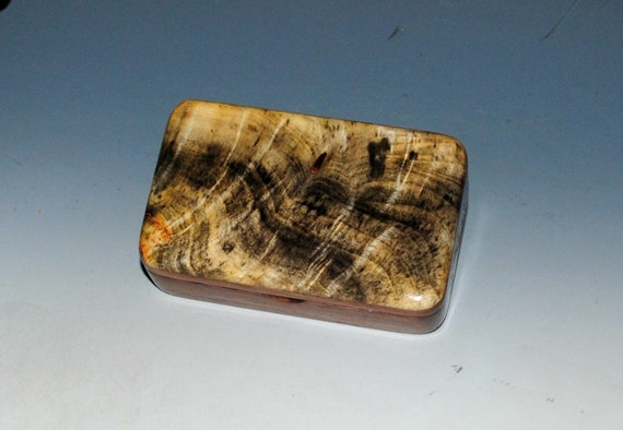 Tiny Wooden Box - Walnut & Buckeye Burl  Handmade by BurlWoodBox, Small Gift Box, Small Jewelry Box, Small Wood Box, Mini Wooden Box, Boxes