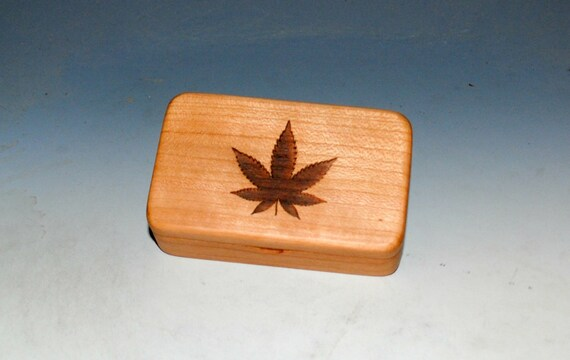 Wooden Box - Wood Box With a Pot Leaf on Cherry - Cannabis Leaf Box With Food Safe Finish - Keepsake Box, Small Stash Box