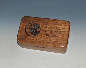 Wooden Box - Love You To The Moon & Back of Walnut - Handmade Wood Box By BurlWoodBox With Hinged Lid - Gift or Thumb Drive Holder