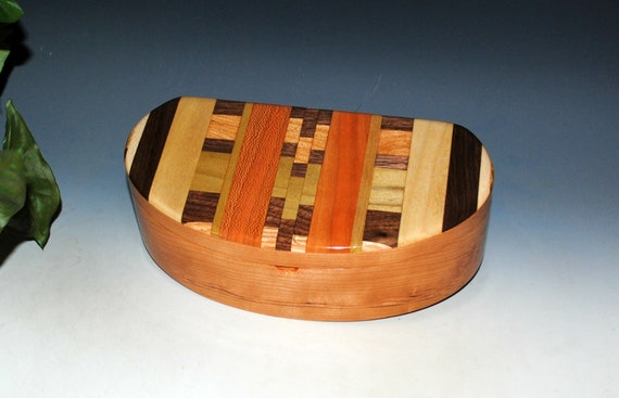Wooden Box With Lift Out Tray - Kidney Shaped Box of Cherry With Upcycled Wood Cutting Board Accent