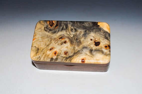 Very Small Wooden Box of Walnut & Buckeye Burl Handmade by BurlWoodBox -  Excellent Small Gift Box or to Hold a Special Gift