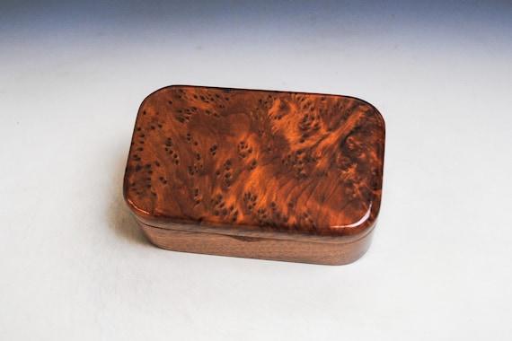 Redwood Burl on Mahogany Handmade Wooden Trinket Box - Handmade  by BurlWoodBox in the USA - Gift For a Man