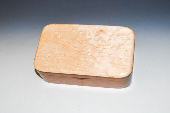 Wooden Treasure Box of Birdseye Maple on Walnut - Handmade Small Wood Box by BurlWoodBox With Hinged Lid - Handcrafted USA Made Gift