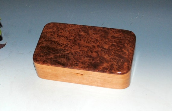 Handmade Wood Box - Wooden Box of  Redwood Burl on Cherry - Stash Box, Jewelry Box, Treasure Box. Keepsake Box, Small Wood Box, Handmade Box