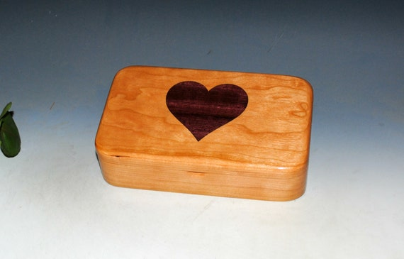 Wood Box of Cherry With Heart Inlay of Purple Heart - USA Made by BurlWoodBox - Valentine's Day Gift