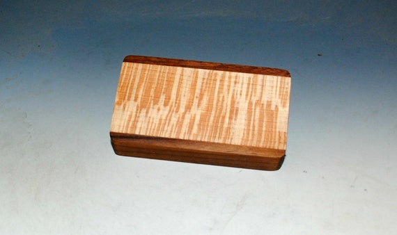 Slide Top Small Wood Box of Walnut With Quartersawn Sycamore - USA Made by BurlWoodBox With a Food Safe Finish