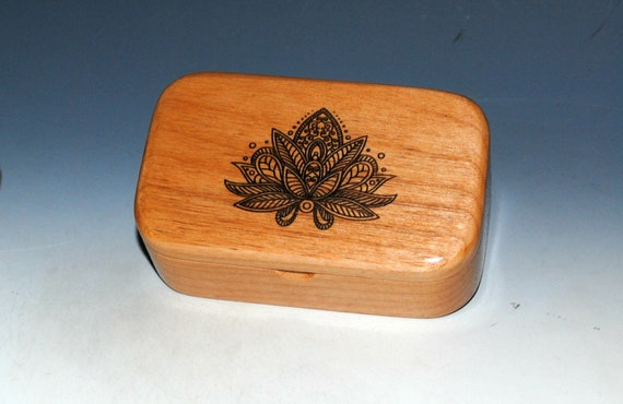 Lotus Flower Engraved Wooden Trinket Box of Alder -  Handmade Wood Box by BurlWoodBox