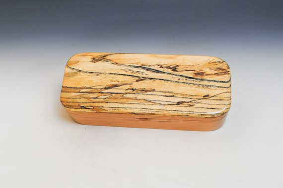 Wooden Pen or Special Gift Presentation Box of Cherry with Spalted Elm - Handmade in the USA by BurlWoodBox