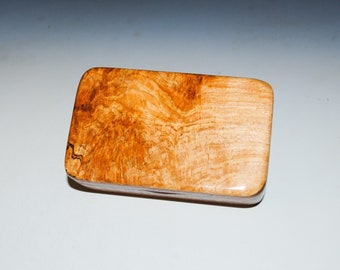 Small Wood Box of Walnut With Maple Burl by BurlWoodBox - Perfect As a Gift Or to Hold a Small Special Present - USA Made Gift!