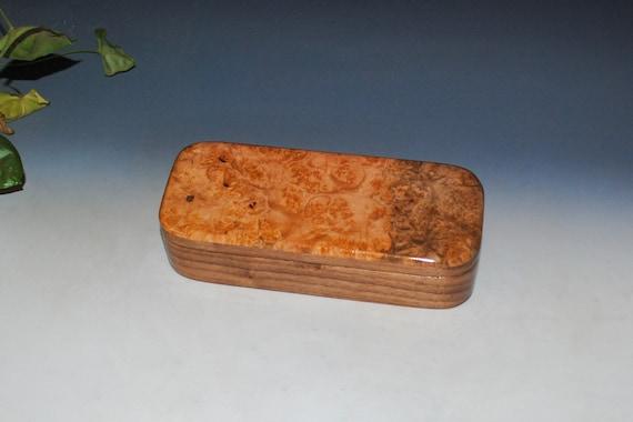 Big Leaf Maple Burl on Walnut Handmade Wooden Pen Box - Handmade Box by BurlWoodBox - Small Wood Box, Burl Wood Box, USA Made Wooden Box
