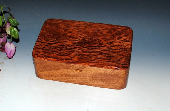 Handmade Wood Stash Box-Wooden Box, Wood Jewelry Box - Redwood Burl on Mahogany by BurlWoodBox - USA Made - Small Wooden Box-Wood Boxes, Box