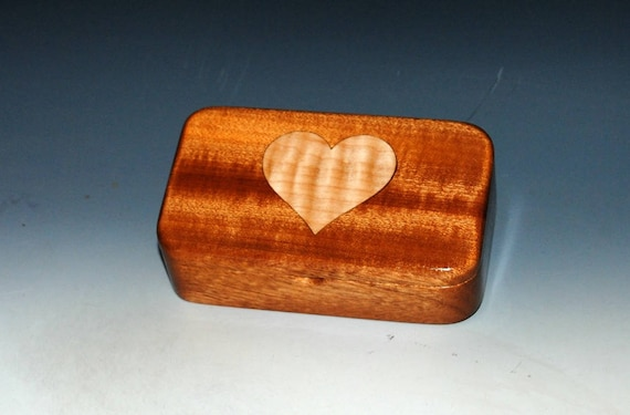 Wooden Box With Heart Inlay of Mahogany and Curly Maple - Small Wood Box With Lid by BurlWoodBox - Excellent Handmade Gift !
