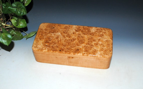 Handmade Wooden Box With Tray and Hinged Lid of Maple Burl on Cherry - USA Made by BurlWoodbox