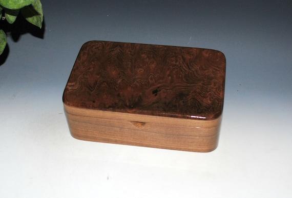 Redwood Burl on Walnut Wood Stash Box, Gift Box, Jewelry Box - Handmade Wooden Boxes by BurlWoodBox - Small Wood Box, Handmade Wood Box