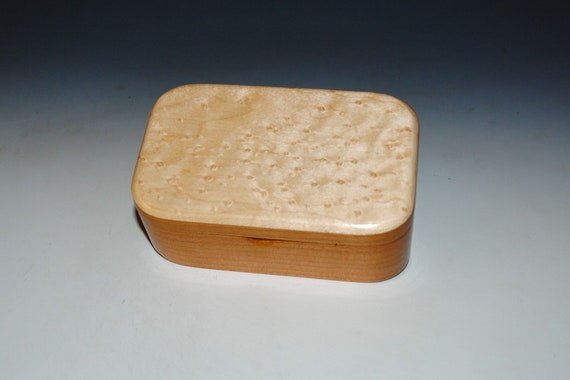 Wooden Trinket Box of Cherry And Birdseye Maple With Hinged Lid by BurlWoodBox - Boxes Are Great Gifts!