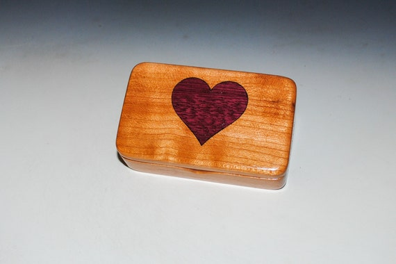Cherry With Purple Heart Inlaid Heart Wooden Box - Handmade Tiny Wood Box by BurlWoodBox - Perfect For A Small Gift