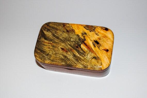 Wooden Trinket Box of Buckeye Burl on Mahogany by BurlWoodBox - Handmade in the USA