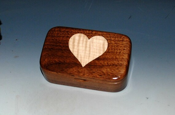 Wooden Trinket Box of Walnut With a Curly Maple Heart Inlay Handmade by BurlWoodBox in The USA - Perfect As a Gift For Any Occasion