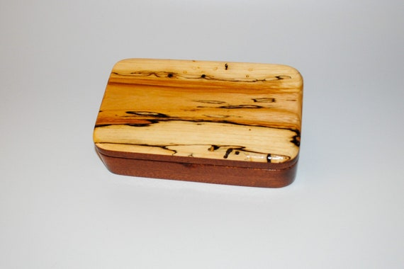 Wooden Box Of Spalted Maple on Mahogany With Hinged Lid - Handmade In America by BurlWoodBox
