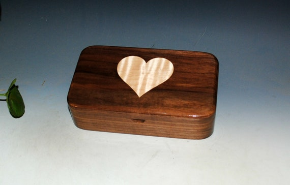 Walnut Wooden Box With Inlaid Curly Maple Heart - Handmade in the USA by BurlWoodBox