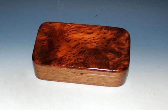 Wooden Treasue Box of Walnut & Redwood Burl - USA Made Small Wood Box - Stash, Keepsake or Jewelry Box - A Unique Gift! - Free Shipping