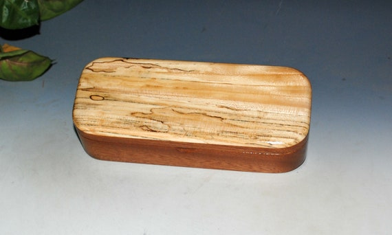 Wooden Pen or Special Gift Presentation Box of Mahogany with Spalted Elm - Handmade in the USA by BurlWoodBox