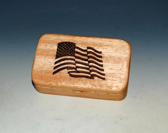 Wood Box With a US Flag on Light Mahogany - Waving Flag Box With Food Safe Finish - Keepsake Box, Small Stash Box - USA MADE !