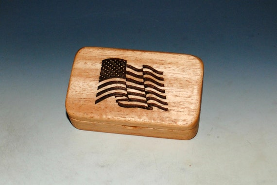 Wood Box With a US Flag on Light Mahogany - Waving Flag Box With Food Safe Finish - Keepsake Box, Small Stash Box - USA MADE !