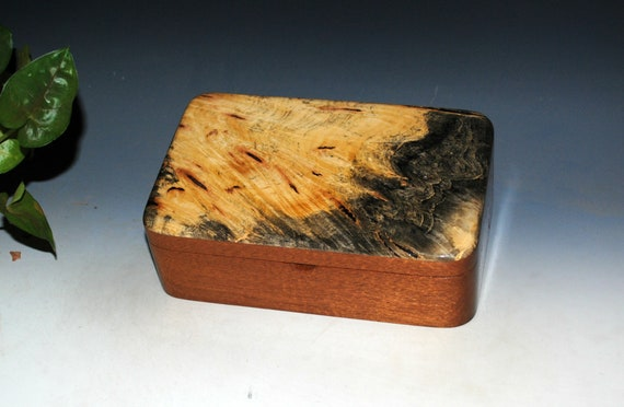Wooden Box in Mahogany with Buckeye Burl by BurlWoodBox - Handmade Wood Stash Box With Lid - Gift !