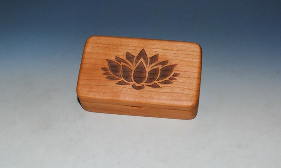 Wooden Box With Lotus Flower Engraved on Cherry - Handmade by BurlWoodBox With A Food Grade Finish