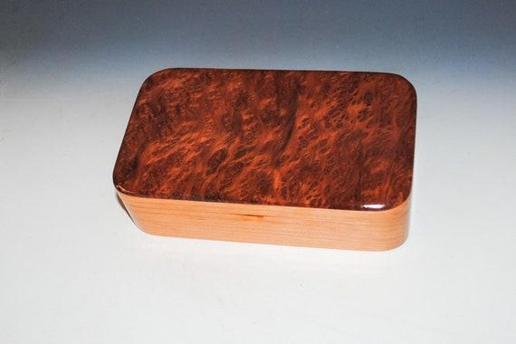 Handmade Wooden Box of  Redwood Burl on Cherry - Small Stash Box or Jewelry Box
