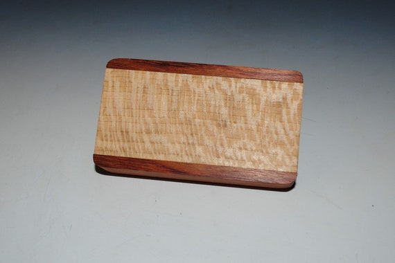 Slide Top Small Wood Box of Bubinga With Quartersawn Sycamore - USA Made by BurlWoodBox With a Food Safe Finish
