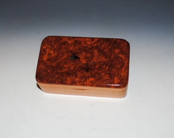 Very Small Wooden Box With Redwood Burl on Cherry - Handcrafted in The USA by BurlWoodBox