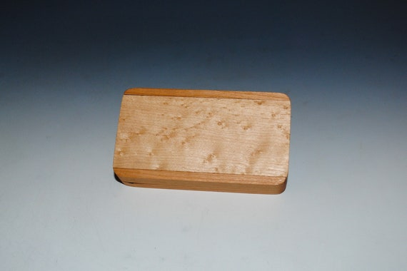 Slide Top Small Wood Box of Cherry With Birdseye Maple - USA Made by BurlWoodBox With a Food Safe Finish