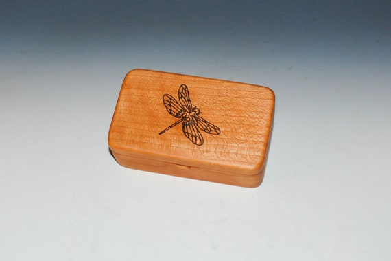 Small Wooden Box With Dragonfly Engraving on Cherry- Handmade Tiny Wood Box With Food Grade Finish - Small Gift or Present