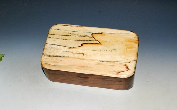 Wooden Treasure Box of Walnut & Spalted Elm - Handmade Wood Box for Keepsakes, Jewelry or as a Gift