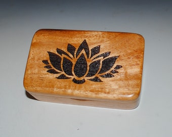 Small Wooden Box With a Lotus Flower on Light Mahogany - Handmade Symbolic Gift ! USA Made by BurlWoodBox
