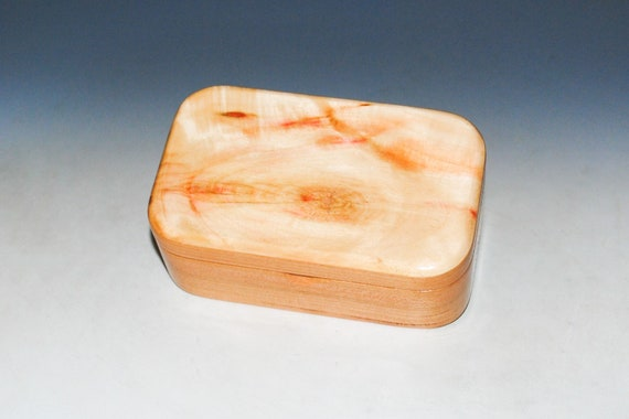 Wooden Trinket Box With Hinged Lid of Spalted Box Elder on Cherry USA Made Small Wood Jewelry Box