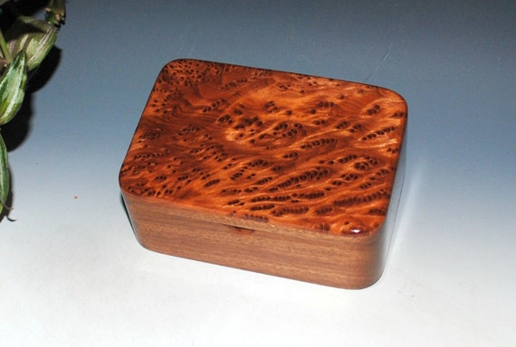Small Wooden Box With a Tray - Redwood  Burl on Mahogany- Desk Box, Gift Box, Stash Box, Keepsake Box, Jewelry Box, Wood Box, Wood Box Lid