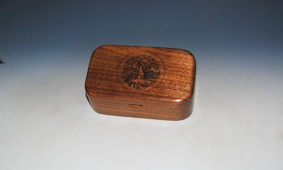 Tree of Life Engraved Wooden Trinket Box of Walnut -  Handmade In The USA by BurlWoodBox - Wood Boxes Are Great Gifts !