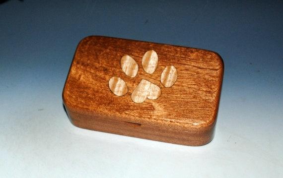 Wood Treasure Box Mahogany With Inlaid Curly Maple Dog Paw Print - Handmade Wooden Box by BurlWoodBox