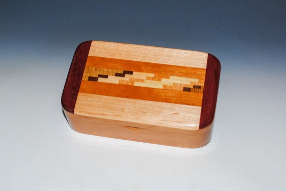 Wood Treasure Box of Cherry with Cutting Board Upcycled Wood by BurlWoodBox - Great Gift For Anyone For Any Occasion !