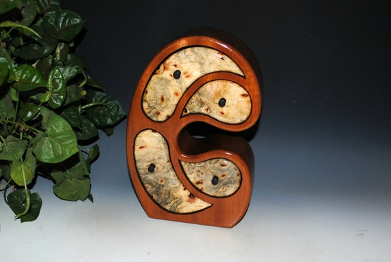 Handmade Wood Jewelry Box - Art Jewelry Box in our Madonna Style of Buckeye Burl on Mahogany by BurlWoodBox