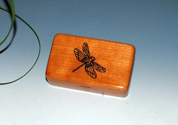 Small Wooden Box  With a Dragonfly of Cherry - Handmade Tiny Wood Box by BurlWoodBox