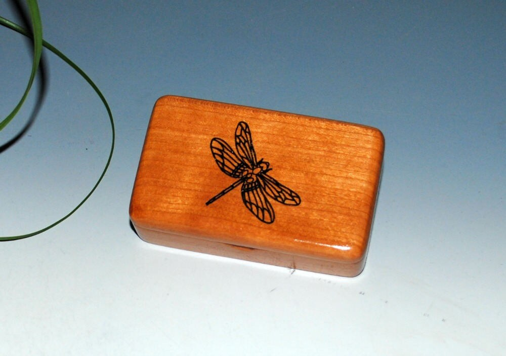 Small Wooden Box With a Dragonfly of Cherry - Handmade