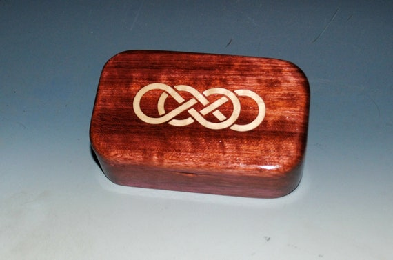 Wooden Trinket Box of Curly Maple & Purple Heart With Double Infinity Inlay - Small Jewelry Box