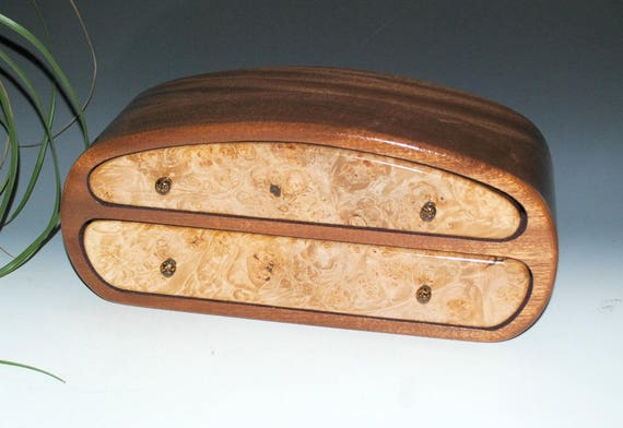 Men's Wood Jewelry Box or Valet Box of Maple Burl on Mahogany - Handmade Large Jewelry Box By BurlWoodBox - Excellent Unisex Gift !