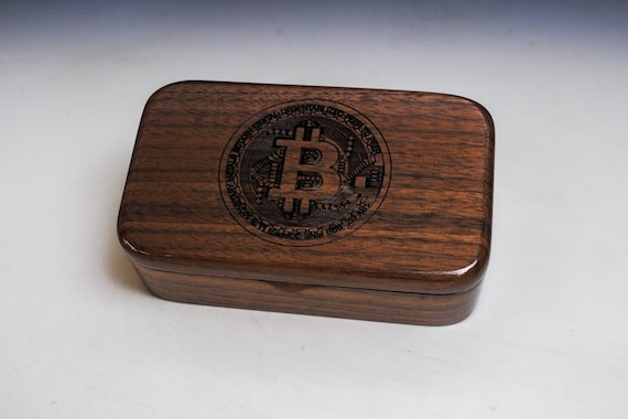 Walnut Treasure Box With Bitcoin Engraving - Handmade in the USA by BurlWoodBox - Great Gift ! Cryptocurrency Present
