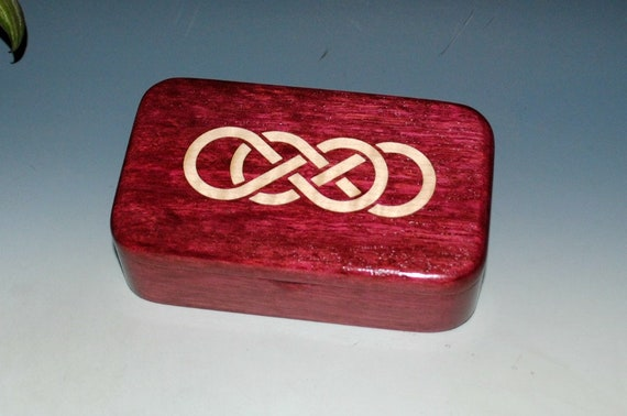 Wood Treasure Box Purple Heart With Inlaid Maple Double Infinity Symbol by BurlWoodBox - Celtic Knot Symbol Box - Small Wooden Jewelry Box