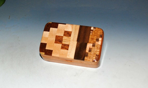 Small Wooden Box of Cherry with a Patterned Top -  Handmade in the USA by BurlWoodBox